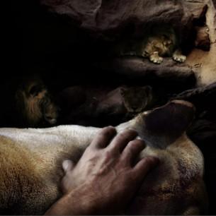 Hand study of Daniel in the lions den, Photo manipulation, hand model Brad Huebert