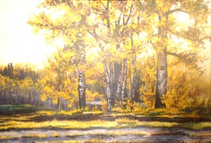 This was done for my dear grandmas 80th birthday, of the laneway at their farm in Alberta. Highlighting the common birch trees in the area.